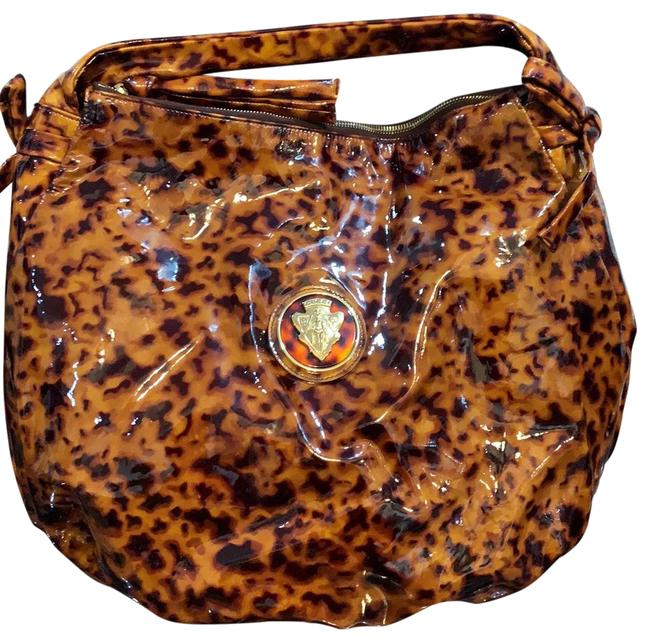 Item - Hysteria And Black Gold Tone Tortoise Shell Brown Patent Leather Shoulder Bag