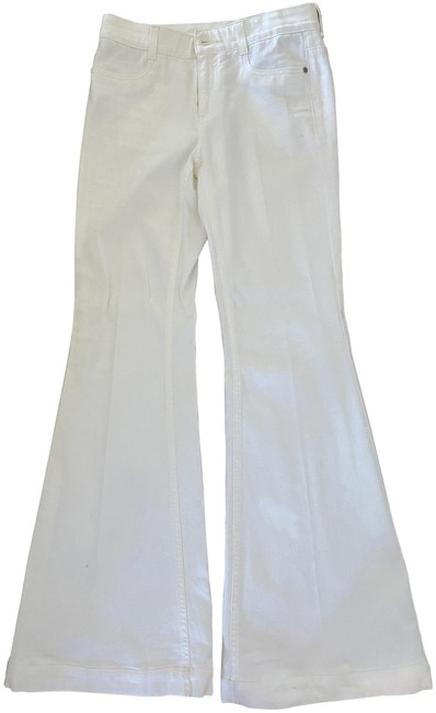 Item - White Stretch Cotton '70's From Flare Leg Jeans Size 6 (S, 28)