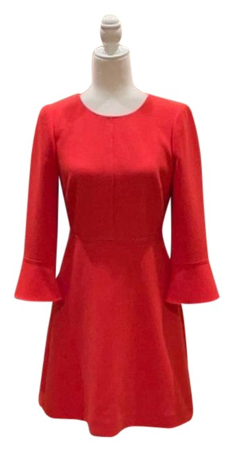 Item - Orange With Bell Sleeves and Gold Zipper On Back Mid-length Short Casual Dress Size 2 (XS)