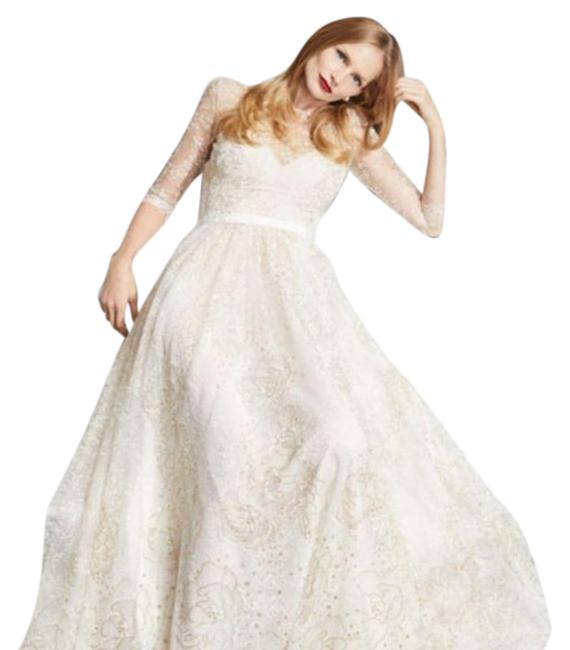 Item - Cream/Gold Glitter Tulle Sweetheart Illusion Gown Long Formal Dress Size 8 (M)