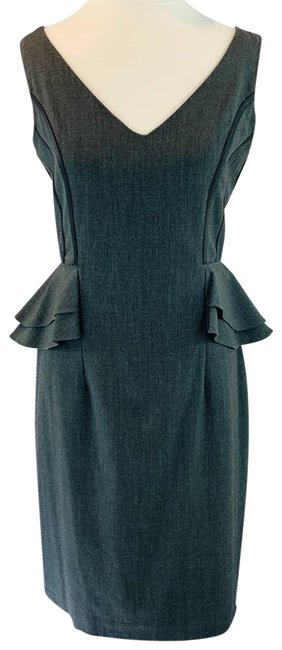 Item - Gray Flare Hips Ruffle V-neck Cocktail Dress Size 8 (M)