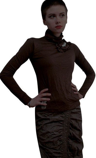 Item - Brown White Blouse Size 4 (S)