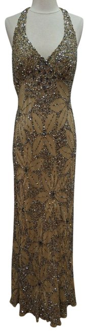 Item - Beige L Evening Silk Gown Floral Beaded Max D Long Night Out Dress Size 12 (L)
