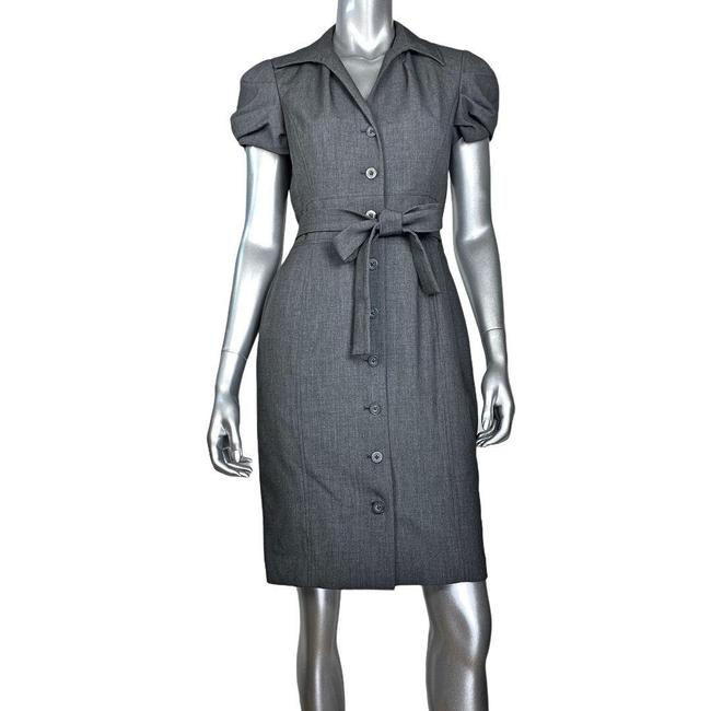 Item - Gray Belted Button Front Short Work/Office Dress Size 6 (S)