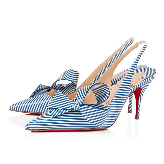 Item - Blue Clare Nodo 80 Jeans White Stripes Patent Bow Slingback Heel Pumps Size EU 37 (Approx. US 7) Regular (M, B)