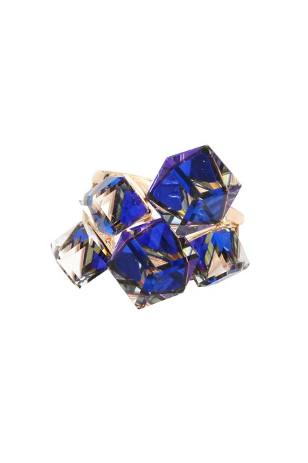 Item - Blue Candy Square Crystal Rose Gold Ring