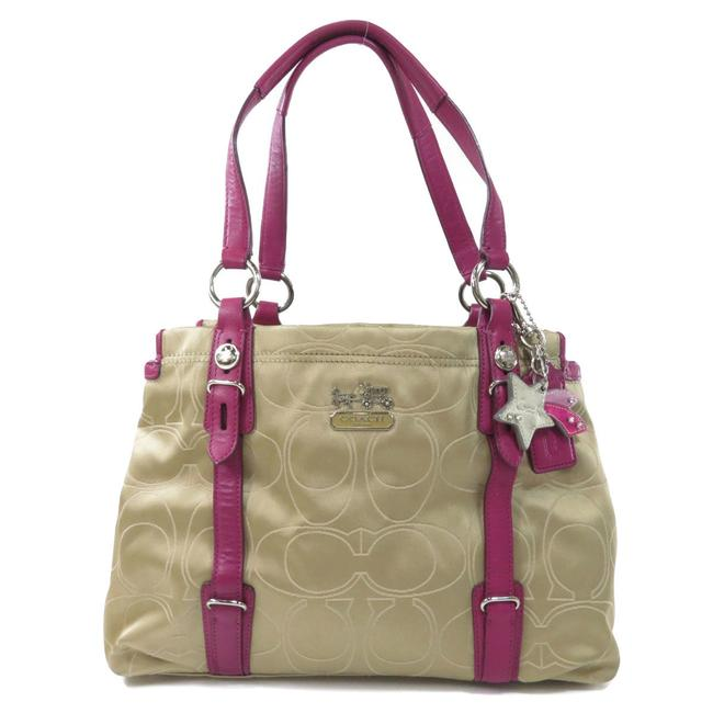 Item - Bag 15402 Signature Leather Ladies Brown / Purple Canvas Tote