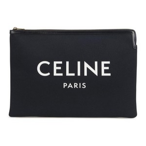 Item - Logo Printed Leather Trimmed Canvas Pouch Black Clutch