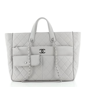Item - Shopping Ultra Pocket Quilted Calfskin Large Gray Leather Tote