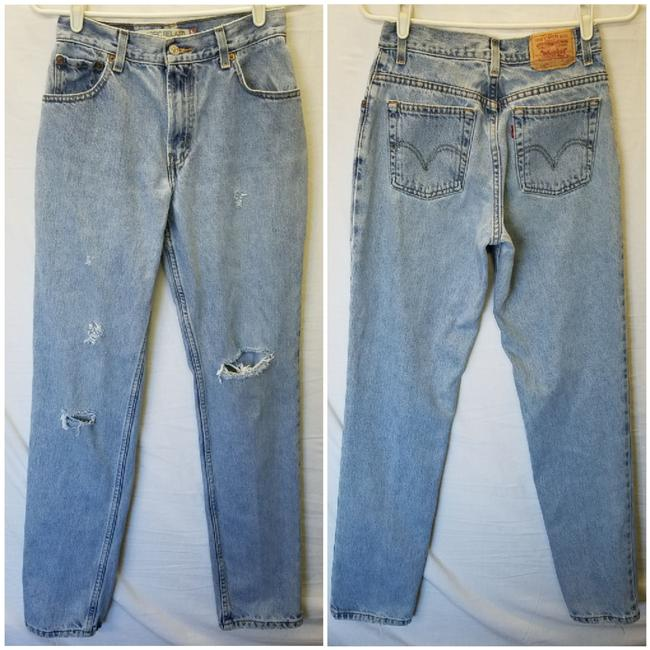 Item - Blue Light Wash Distressed Relaxed Fit Jeans Size 26 (2, XS)