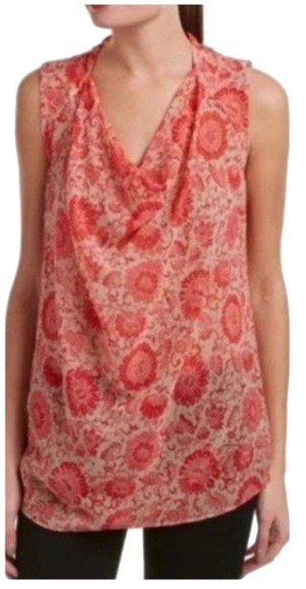 Item - Pink Red Floral Drape Sleeveless Blouse Size 4 (S)