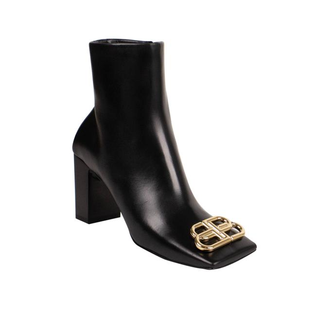 Item - Black Leather 'double Square' 80mm Boots/Booties Size EU 40 (Approx. US 10) Regular (M, B)