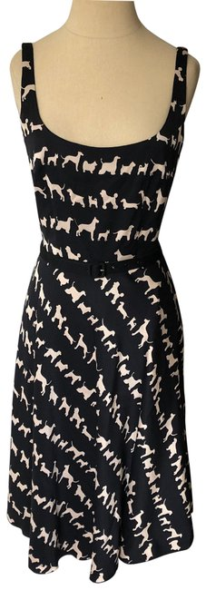 Item - Black and Beige Silk Dog Print Fit & Flare Night Out Dress Size 2 (XS)