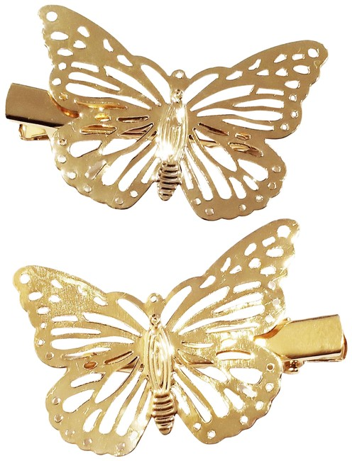 Item - Gold 2 Piece Clip Color Butterfly Women Fashio Hair Accessory