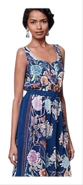 Anthropologie Blue Silk Floral Mid-length Short Casual Dress Size 8 (M) Anthropologie Blue Silk Floral Mid-length Short Casual Dress Size 8 (M) Image 1
