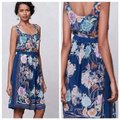 Anthropologie Blue Silk Floral Mid-length Short Casual Dress Size 8 (M) Anthropologie Blue Silk Floral Mid-length Short Casual Dress Size 8 (M) Image 2