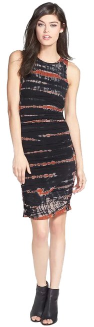 Item - Black and Orange Tie Dye Ruched Body-con Short Casual Dress Size 2 (XS)
