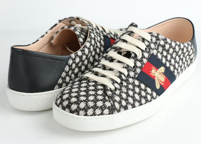Item - Black/White Jacquard Embroidered Bee Sneakers Shoes