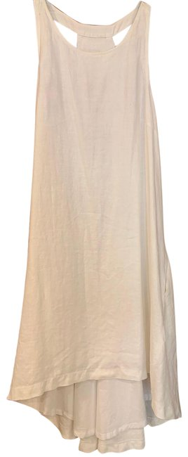 Item - White Linen Hi-lo Mid-length Casual Maxi Dress Size 2 (XS)