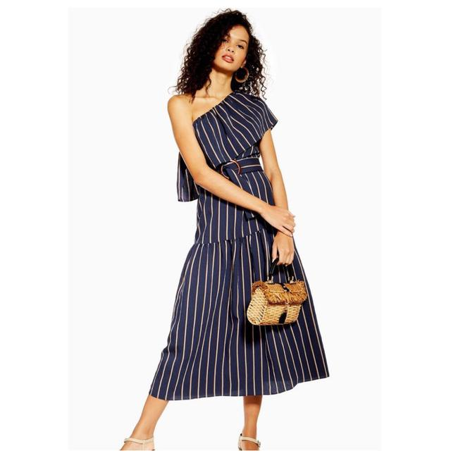 Item - Navy Blue New Striped One Shoulder Midi Mid-length Casual Maxi Dress Size 6 (S)