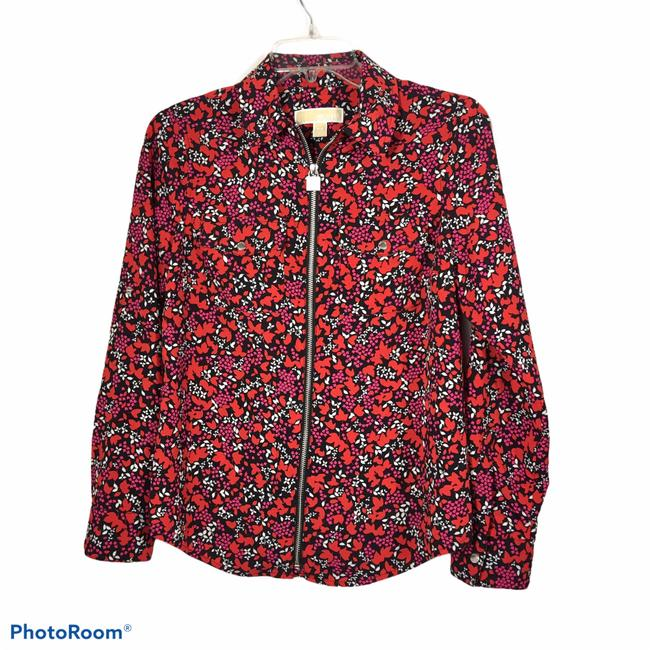 Item - Black Red and White Floral Bomber Jacket Size 6 (S)