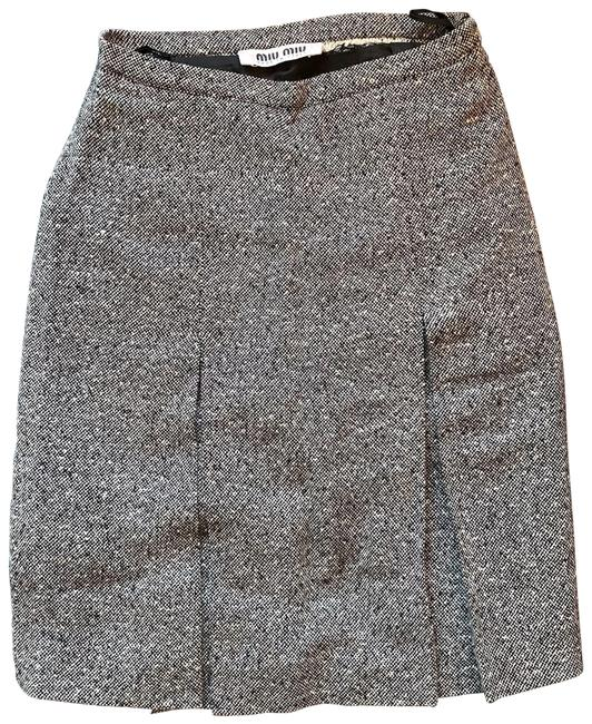 Item - Grey Pleated Tweed A-line Vintage Skirt Size 0 (XS, 25)