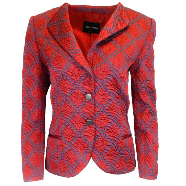 Item - Red Quilted Jacquard Satin Blazer Size 12 (L)