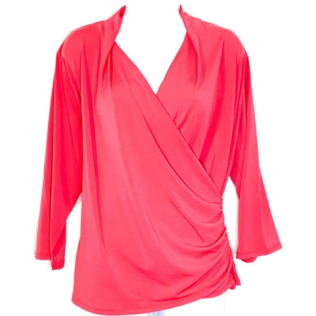 Item - Coral Red Pink New Faux Wrap 3/4 Sleeves Blouse Size 22 (Plus 2x)