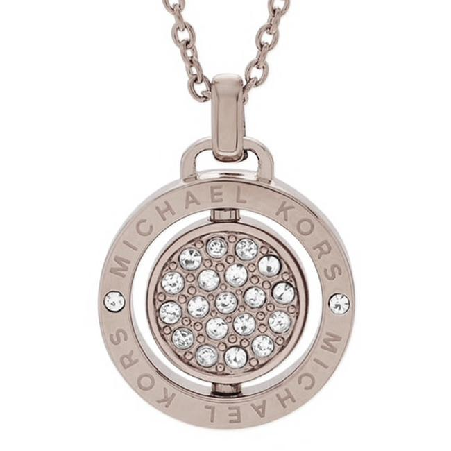Item - Silver New Brilliant Pave Spinning Logo Pendant Necklace