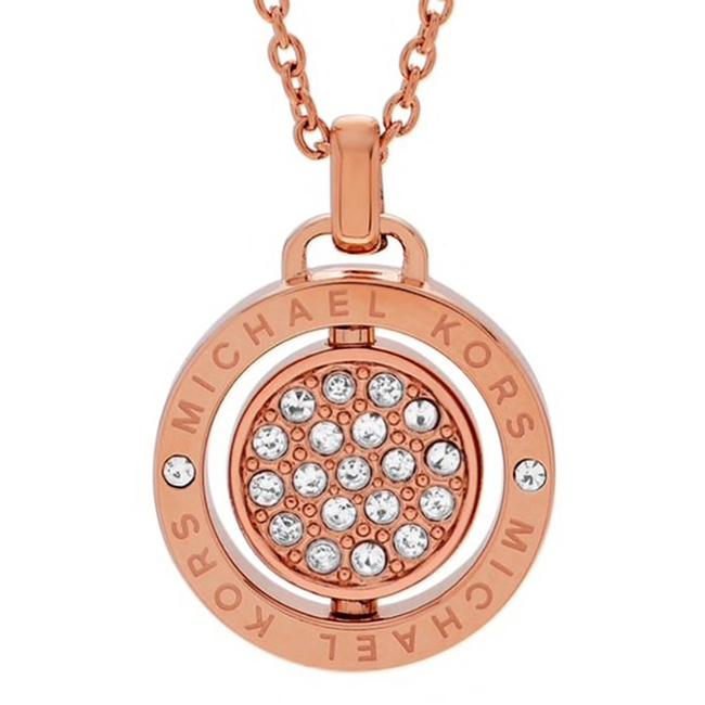Item - Rose Gold New Brilliant Pave Spinning Logo Pendant Necklace