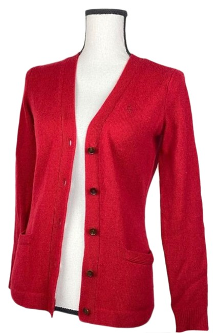 Item - Red Wool V Neck Button Cardigan Size 4 (S)