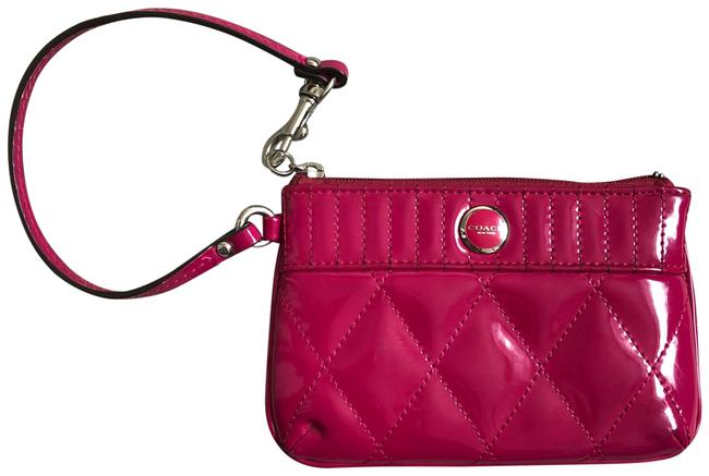 Item - Poppy Gloss Quilted Pink Patent Leather Wristlet