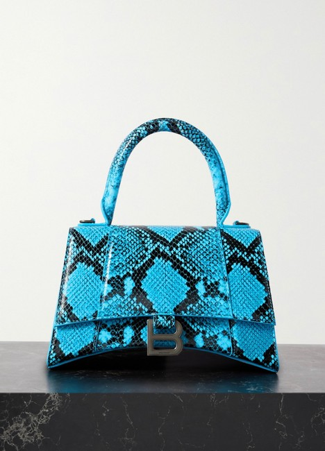 Item - Hourglass Small Python-effect Tote Blue Leather Cross Body Bag