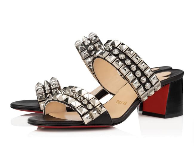 Item - Black Tina Goes Mad 55mm Studded Spiked Strappy Mules D166 Sandals Size EU 36.5 (Approx. US 6.5) Regular (M, B)