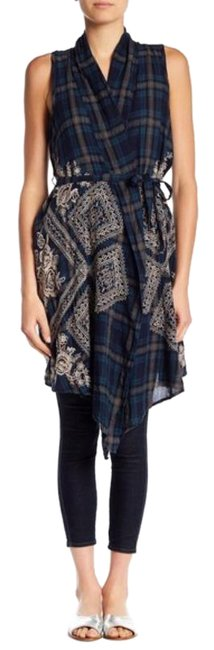 Item - Blue Green Plaid Embroidered Dion Vest Tunic Size 6 (S)
