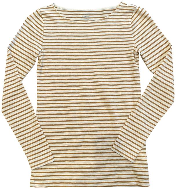 Item - White and Bronze Stripe Longsleeve Fitted Tee Shirt Size 2 (XS)