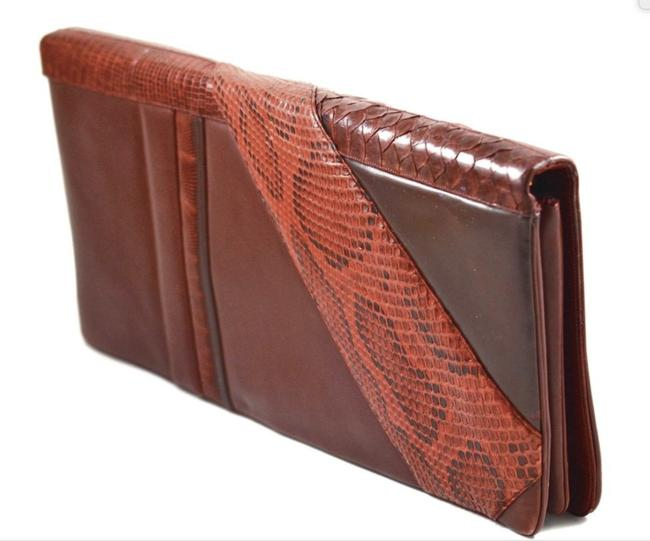 Item - Oversized Multi Skins Red Leather Clutch