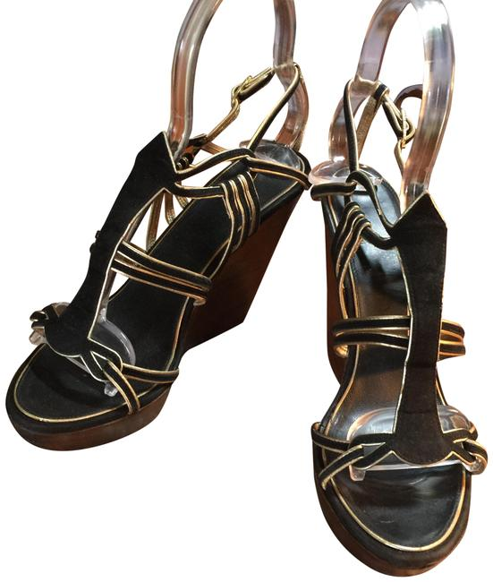 Item - Black Italy Ankle Strap Wedges Size EU 37.5 (Approx. US 7.5) Regular (M, B)