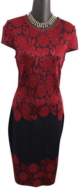 Item - Red Black New Knit Mid-length Work/Office Dress Size 4 (S)
