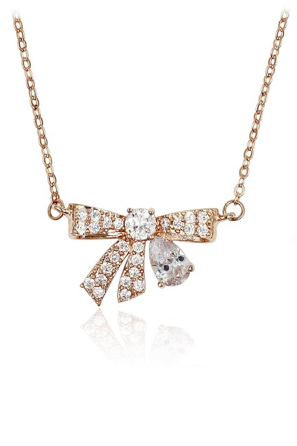 Item - Rose Gold Pendant Crystal Knot Necklace