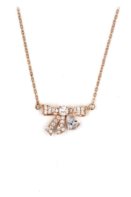 Item - Rose Gold 925 Pendant Crystal Knot Necklace