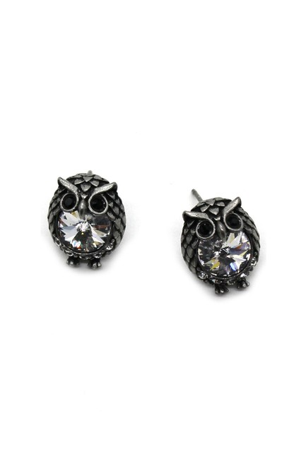 Item - Vintage Silver Mini Cute Owl Crystal Earrings
