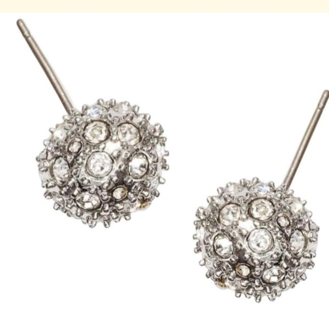 Item - Silver Pave Cabochon Earrings