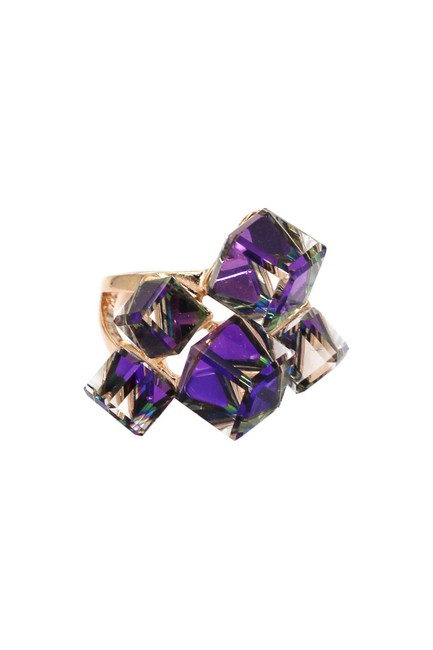 Item - Purple Candy Square Crystal Rose Gold Ring