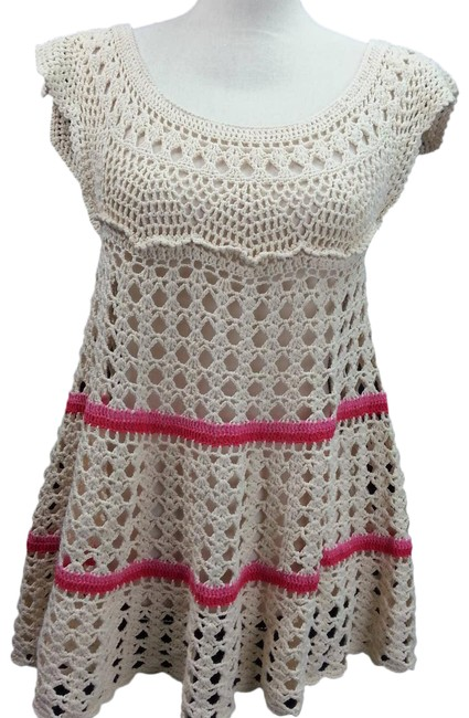 Item - Tan Crochet Eyelet Small Short Cocktail Dress Size Petite 4 (S)