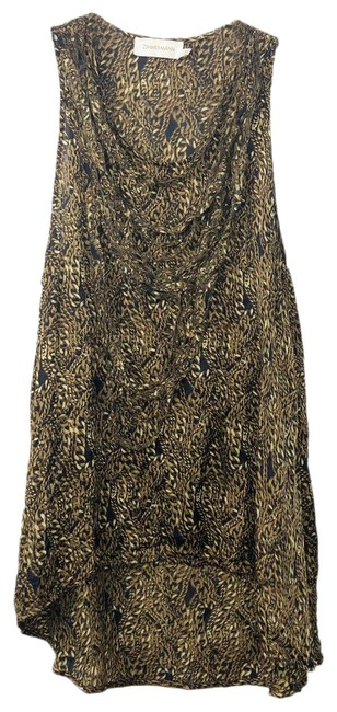 Item - Gold Chain Print All Over Printed Tunic Mid-length Short Casual Dress Size 6 (S)