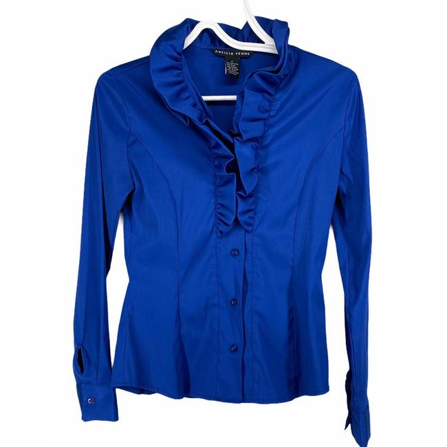 Item - Blue Royal Ruffle Button Up Shirt S Button-down Top Size 6 (S)