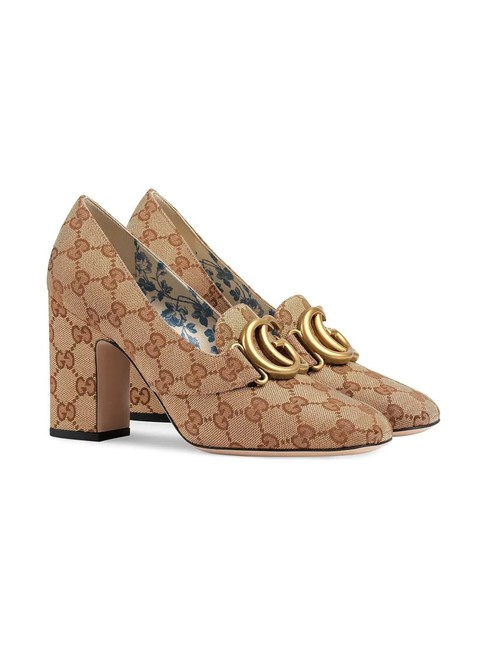 Item - Beige Gg Mid-heel Canvas with Double G Pumps Size EU 39 (Approx. US 9) Regular (M, B)