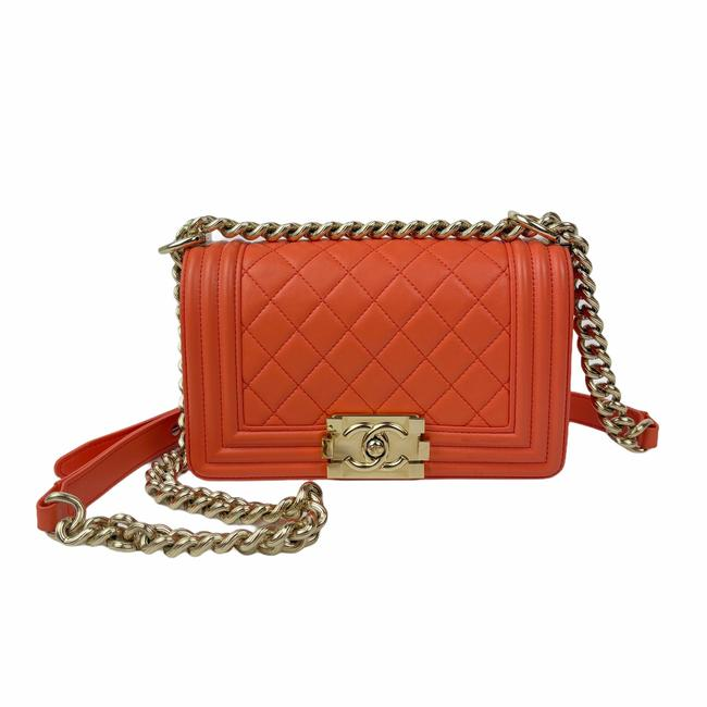 Item - Classic Flap Boy Le Medium Orange Lambskin Leather Cross Body Bag