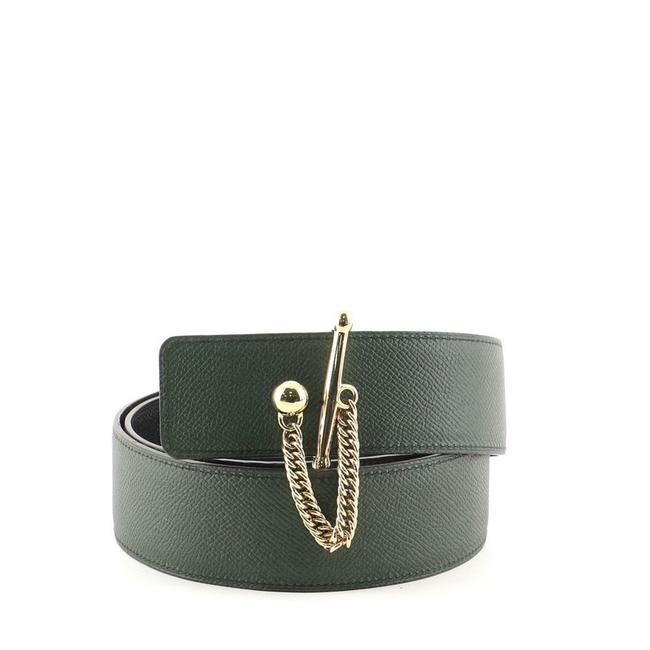 Item - Green Reversible Mallions Leather Wide Belt
